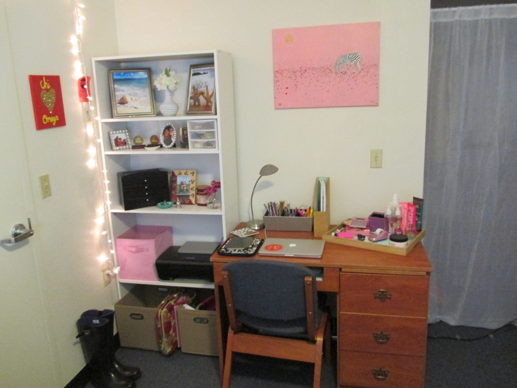 My desk and shelves