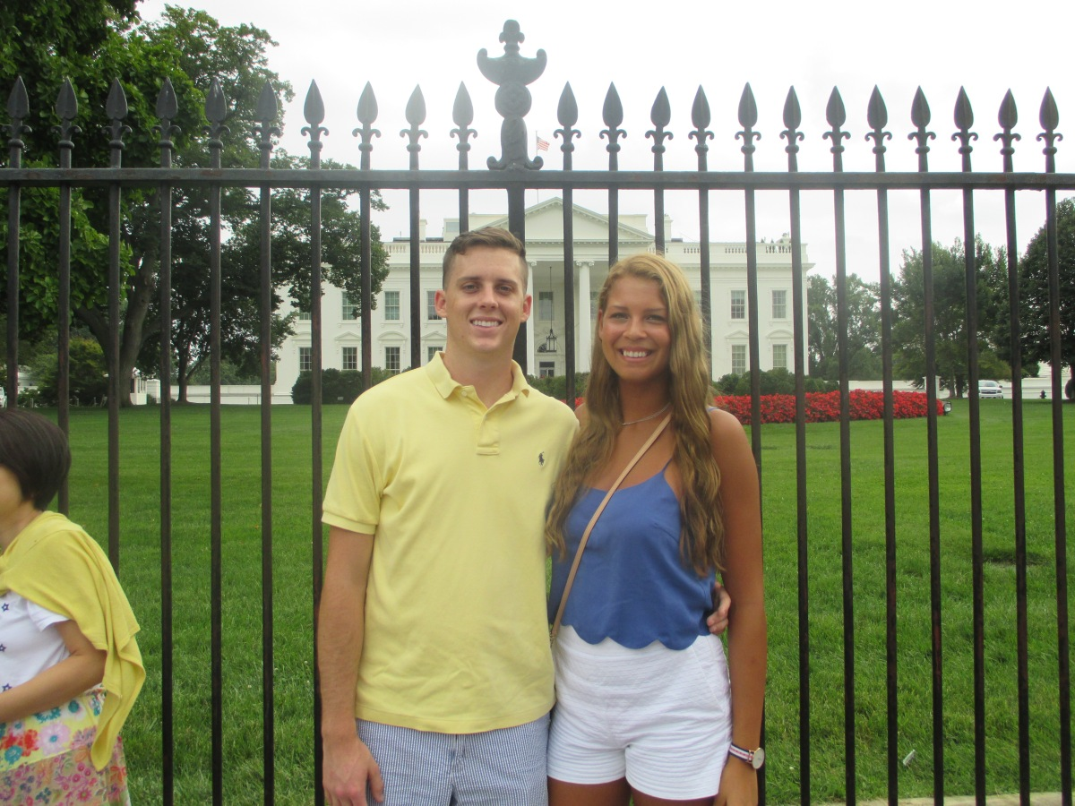 My boyfriend and I outside the front of the White House